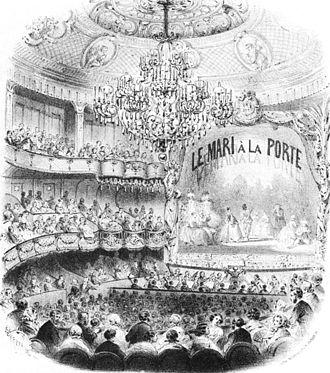 Théâtre des Bouffes-Parisiens - Image: Théâtre des Bouffes Parisiens interior during 'Le mari à la porte' 1859 Sadie 1992 3p 709