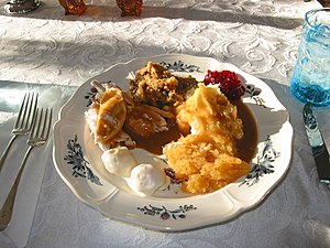 English: Thanksgiving Dinner, Falmouth, Maine,...