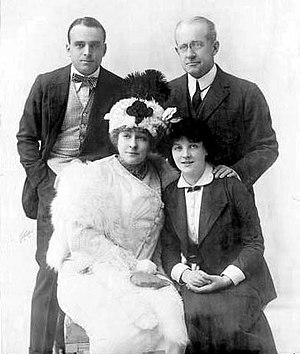 Patricia Collinge - Douglas Fairbanks, William Henry Crane, Amelia Bingham, and Patricia Collinge in the Broadway production of The New Henrietta (1913)