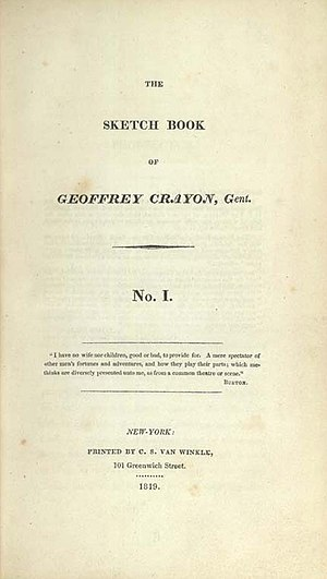 The Sketch Book of Geoffrey Crayon, Gent. - Title page of the first edition