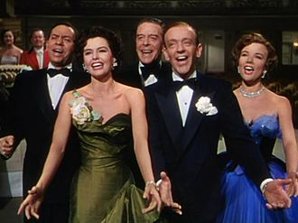 "The Band Wagon - Finale, ""That's Entertainment"" (reprise). L-R: Oscar Levant, Cyd Charisse, Jack Buchanan, Fred Astaire, and Nanette Fabray"