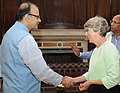 The Chair of the UK India Business Council (UKIBC), Ms. Patricia Hewitt meeting the Union Minister for Finance and Corporate Affairs, Shri Arun Jaitley, in New Delhi on September 26, 2016.jpg
