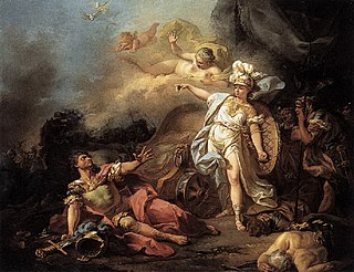 <i>Minerva Fighting Mars</i> painting by Jacques-Louis David