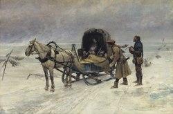 Carl Gustaf Hellqvist: Der Tod Sten Sture des Jüngeren auf dem zugefrorenem Mälarensee