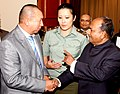The Defence Minister, Shri A. K. Antony with his Kyrgyz counterpart, Mr. Abibilla Kudaiberdiev, at a banquet hosted in his honour, in Bishkek, Kyrgyzstan on July 04, 2011.jpg