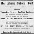 The Lahaina National Bank (ad, 31 Mar 1906).jpg