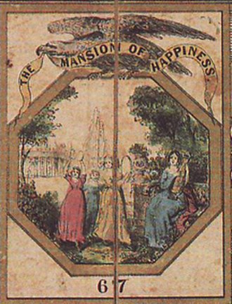 The Mansion of Happiness - The game board's goal at track's end depicts men and women making music and dancing before a house and garden.