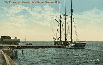 Petitcodiac River - A sailing ship on the Petitcodiac River in 1910.