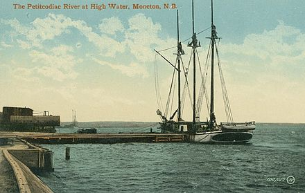 Tern schooner at dockside c. 1910. This design is notable for all three masts being of equal height. The Petitcodiac River at High Water.jpg