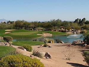 English: Hole #7, The Phoenician Golf Club, Ca...