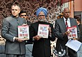 """The Prime Minister, Dr. Manmohan Singh releasing the brochure entitled """"Rebuilding Life Step by Step"""", at the inauguration of the Jagti Township for Kashmiri Migrants, in Jammu on March 04, 2011.jpg"""