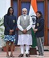 The Prime Minister, Shri Narendra Modi with the Rio Olympic Medal Winners & Khel Ratna Awardees of 2016, P.V. Sindhu and Sakshi Malik, in New Delhi on August 28, 2016.jpg