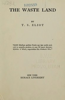 Carátula de la edición príncipe de The Waste Land (Nueva York, Horace Liveright, 1922).