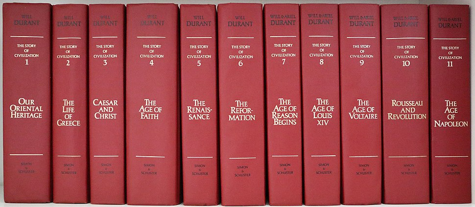 The collection of 11 volumes of the Story of Civilization by Will and Ariel Durant