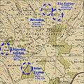 The four kibbutzes of the Gush Etzion Bloc (Kfar Etzion, Ein Zurim, Massuot Yitzhak, Revadim) overlaid on the 1943 Survey of Palestine map of Beit Fajjar.jpg