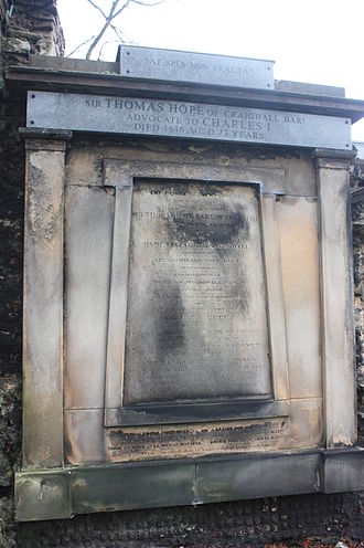 Sir Thomas Hope, 1st Baronet - The grave of Sir Thomas Hope, Greyfriars Kirkyard