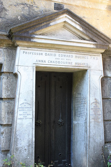 The vault of David Edward Hughes, Highgate Cemetery, London The vault of David Edward Hughes, Highgate Cemetery, London.jpg