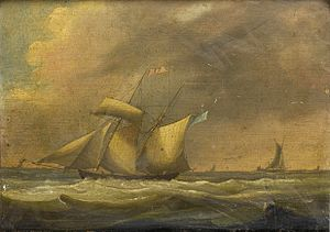 Thomas Buttersworth - A topsail schooner in a heavy swell.jpg