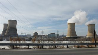 Three Mile Island Nuclear Generating Station - Three Mile Island from Middletown, Pennsylvania in 2014