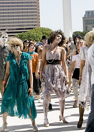 Zombie dancers at Thrill the World 2008 in Austin, Texas. Thrill the World.jpg