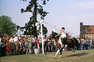 Quintain (jousting) - Tilting on horseback at a replica quintain on Offham Green, Kent 1976