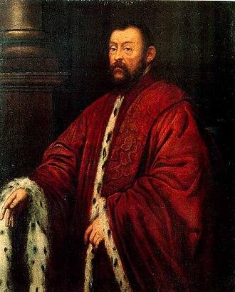 Venetian Senate - The Senator Marcantonio Barbaro, painting by Tintoretto