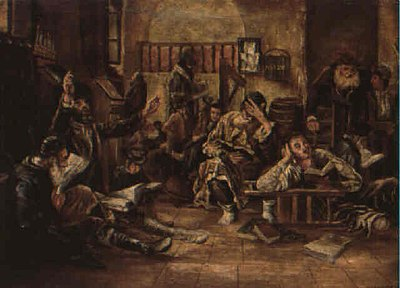 Lamenting in the synagogue, 1887 Tish'a B'av 1887.jpg