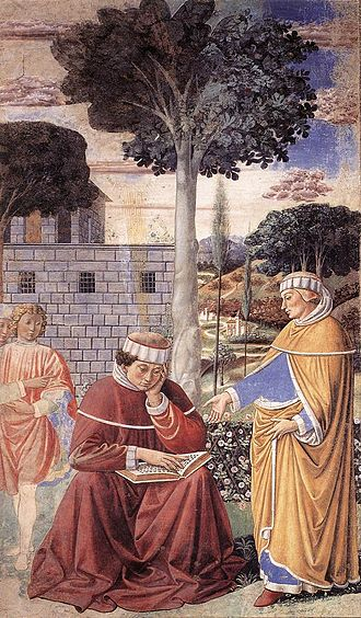 """Alypius of Thagaste - """"The Conversion of St. Augustine"""" (Gozzoli)  The figure at right is probably Alypius."""
