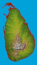 A roughly oval island with a mountainous center