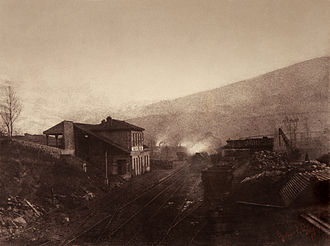 Gustave Le Gray - Image: Train station with train and coal depot by Gustave Le Gray 1