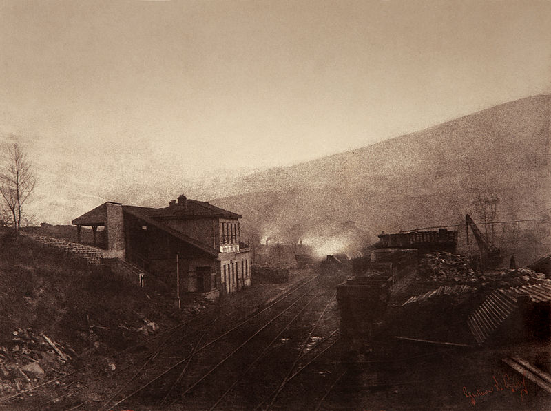 File:Train station with train and coal depot  by Gustave Le  Gray1.jpg
