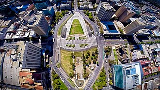 Victoria Square, Adelaide - Aerial view of Victoria Square.