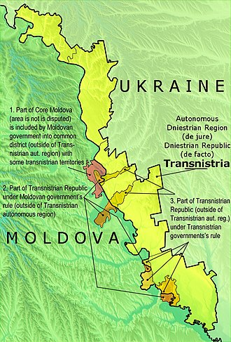 Transnistria - Political map of Transnistria with the differences between the Autonomous Dniestrian Territory de jure and the Pridnestrovian Moldavian Republic de facto