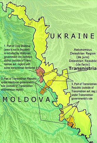 Transnistria - Political map of Transnistria with the differences between the Autonomous Dniestrian Territory de jure and the Pridnestrovian Moldavian Republic de facto