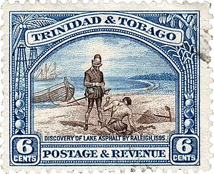 El Dorado - Trinidad and Tobago stamp featuring the 'Discovery of Lake Asphalt by Raleigh, 1595'
