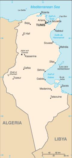 Bản đồ của Tunisia