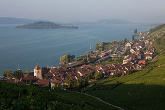 Twann-Tüscherz - Twann village with Lake Biel and St. Peter's Island in the background