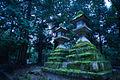 Two Tōrō lanterns in the garden surrounding Tōdai-ji temple complex. Nara, Nara Prefecture, Kansai Region, Japan.jpg