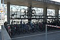 Two level bicycle racks at the train station Cham Alpenblick 01.jpg