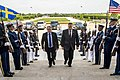 U.S. Deputy Defense Secretary Bob Work hosts an honor cordon to welcome Swedish Defense Minister Peter Hultqvist to the Pentagon, May 20, 2015 150520-D-DT527-033c.jpg