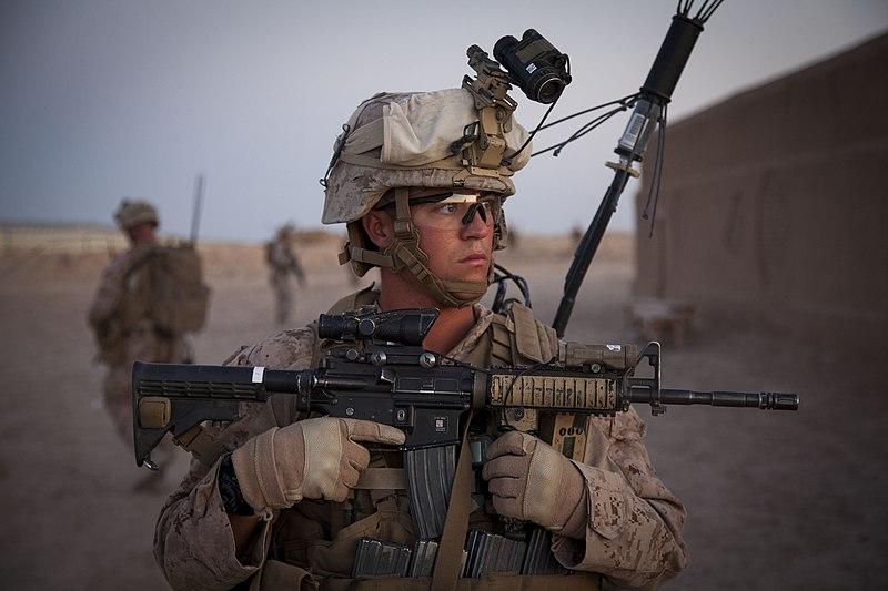 U.S. Marine Corps Sgt. Ryan Burks, a squad leader with Fox Company, 2nd Battalion, 8th Marine Regiment, Regimental Combat Team 7, provides security during a mission rehearsal at Camp Bastion, Helmand province 130527-M-QZ858-089.jpg