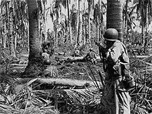 Two soldiers hiding behind trees while moving through a thick groove of jungle