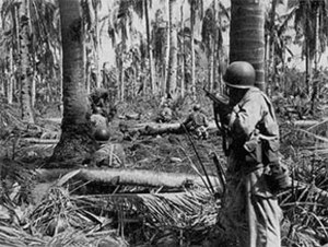 184th Infantry Regiment (United States) - Soldiers from the 184th Infantry advance on an enemy position at Dagami, Leyte