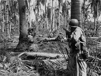 7th Infantry Division (United States) - Soldiers from the 184th Infantry advance on a machine gun nest during the Battle of Leyte.