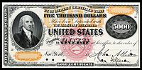 $5,000 Gold Certificate, Series 1870, Fr.1166k, depicting James Madison