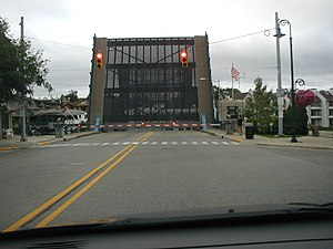 Charlevoix, Michigan - The US-31–Island Lake Outlet Bridge, a bascule bridge in Charlevoix that carries US 31