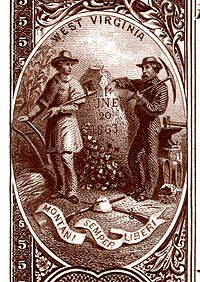 West Virginia state coat of arms from the reverse of the National Bank Note Series 1882BB