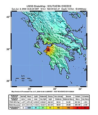 2008 Peloponnese earthquake - USGS ShakeMap for the event