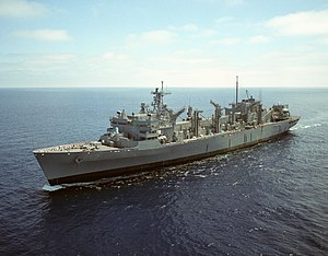 USNS Rainier (T-AOE-7) underway on 1 August 2004 (6640241).jpg
