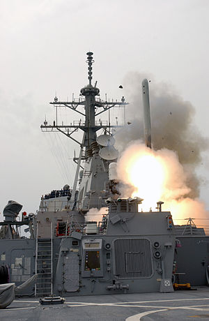 Office of Naval Research - Image: US Navy 030322 N 1035L 006 The guided missile destroyer USS Milius (DDG 69) launches a Tomahawk Land Attack Missile (TLAM) toward Iraq